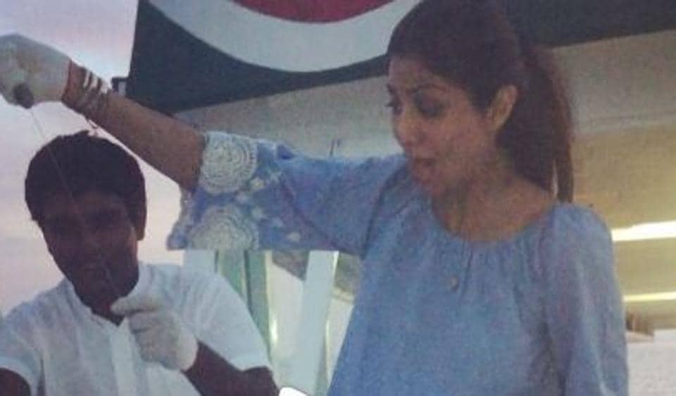 Shilpa Shetty goes fishing in Maldives with son Viaan.