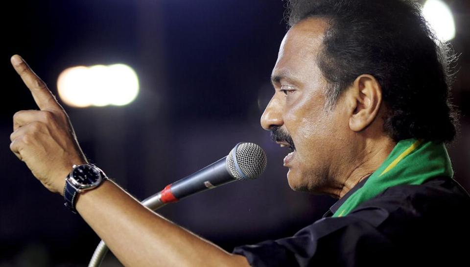 "DMK working president MK Stalin speaks during a mega rally in Cuddalore. The DMK leader, who is the Leader of Opposition, said the Centre desired to place Sanskrit in a ""golden cradle,"" while slighting Tamil."