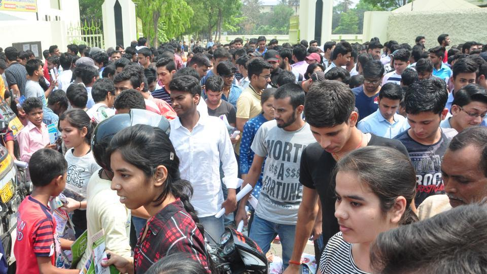 JEE aspirants coming out of the examination hall after the Mains paper in Patna.