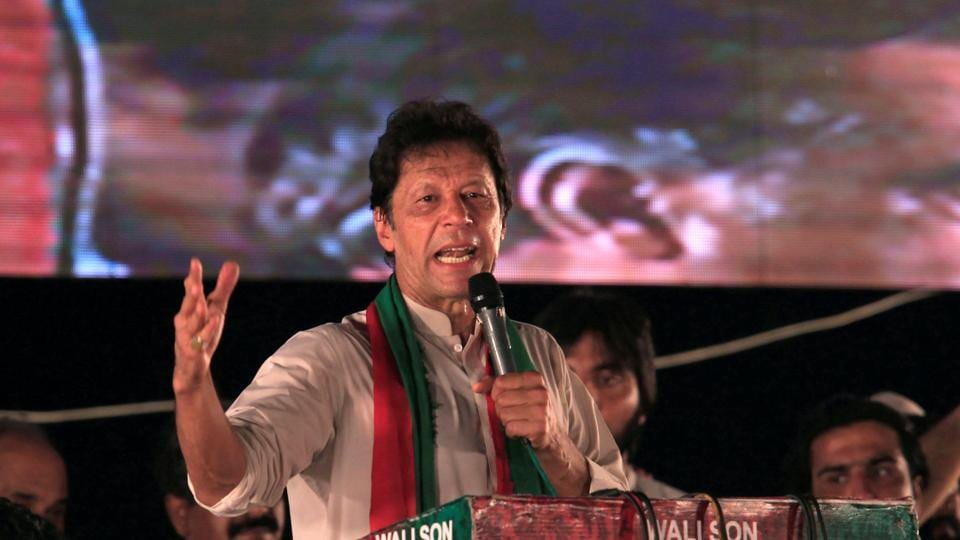 Opposition leader Imran Khan speaks to supporters during a celebration rally after the Supreme Court disqualified Prime Minister Nawaz Sharif in Islamabad.