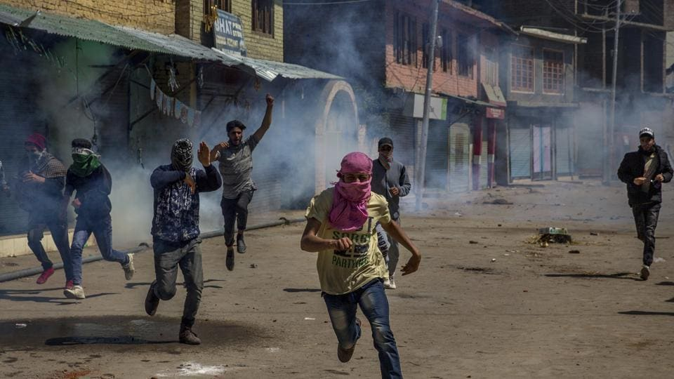 Protesters clash with government forces in Pulwama, about 35 kilometers south of Srinagar.