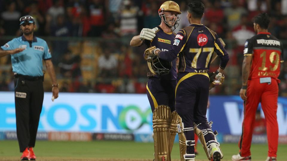 Chris Lynn of the Kolkata Knight Riders (KKR)celebrates with Shubman Gill after winning the 2018 Indian Premier League (IPL 2018)match against Royal Challengers Bangalore (RCB)at the Chinnaswamy Stadium in Bengaluru on Sunday.  (BCCI)