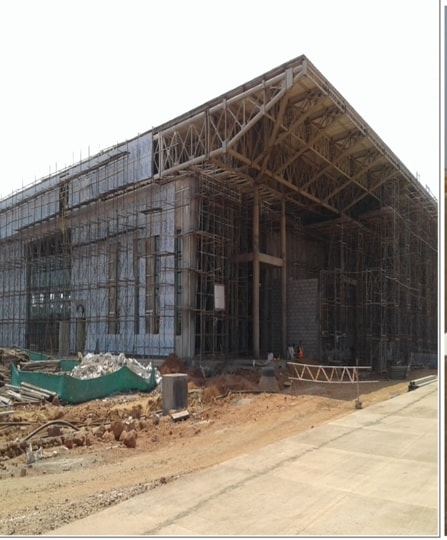 The under-construction building of Sindhudurg airport at Chipi-parule.