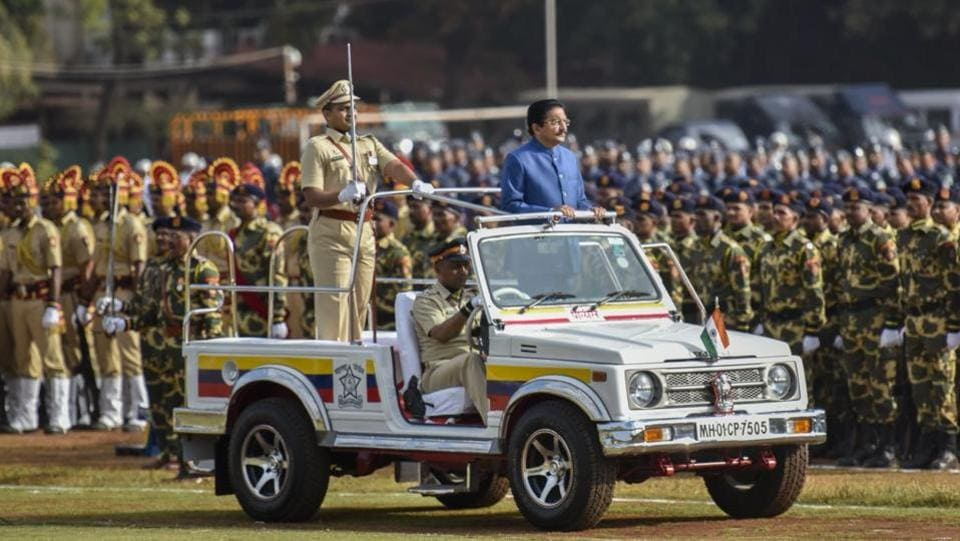 The governor inspected the guards of honour from various security forces. Later, he spoke about various development projects and welfare schemes being implemented by the Maharashtra government. (KUNAL PATIL/HT PHOTO)