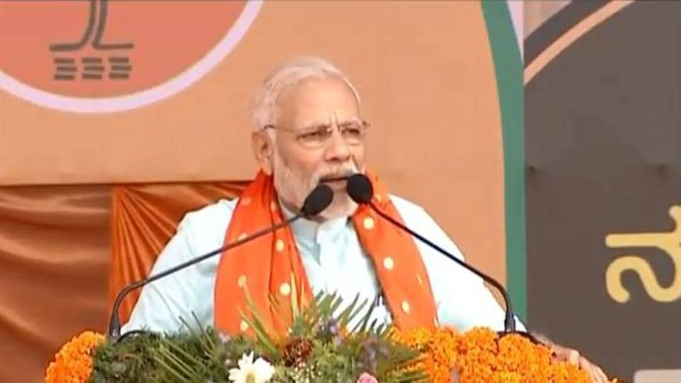 Prime Minister Narendra Modi addressing a public rally in Udupi.