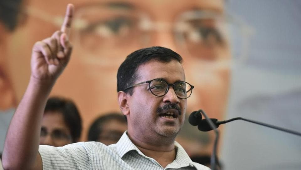 Delhi Chief Minister Arvind Kejriwal speaks during an event on Labour Day in New Delhi, on Tuesday. Kejriwal said that a committee of officers as well as representatives of labourers and contractors was formed to study the matter of low wages but it didn't get Lt Governor Anil Baijal's approval.