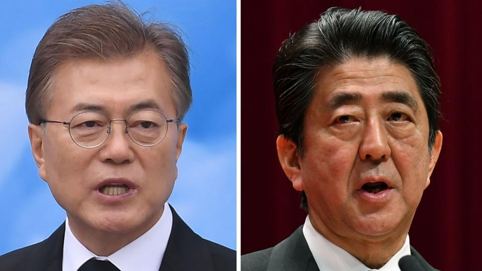 South Korean President Moon Jae-in (left) will travel to Tokyo next week for a three-way summit with Japanese Prime Minister Shinzo Abe (right) and China's Premier Li Keqiang.
