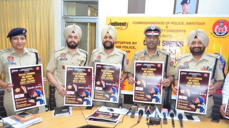 (From left) DCP Amrik Singh Powar; Amritsar police commissioner SS Srivastava; ADCP City2, Lakhbir Singh; ADCP City1, Jagjit Singh Walia and ACP Licensing for Amritsar City, Parvinder Kaur, releasing a poster of Punjabi sufi singer Satinder Sartaj's event in the city on Monday.)