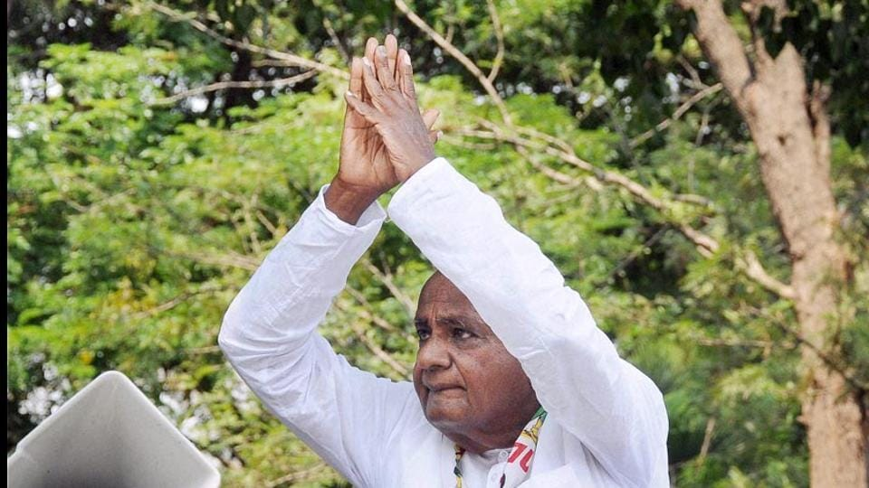 JD(S) president HD Deve Gowda at an election campaign, Mysuru, Karnataka