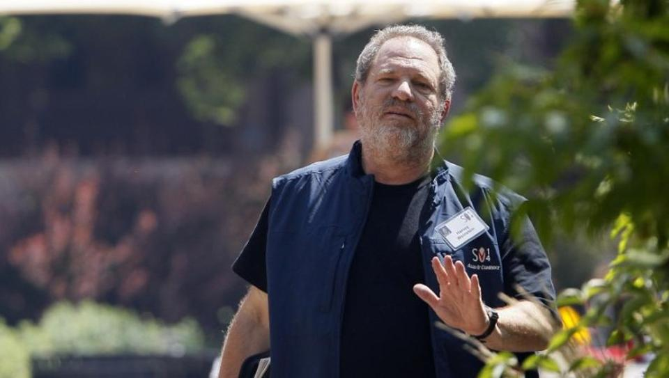 Hollywood film producer Harvey Weinstein of The Weinstein Company gestures during a break on the first day of the Allen and Co. media conference in Sun Valley, Idaho July 9, 2014. REUTERS/Rick Wilking