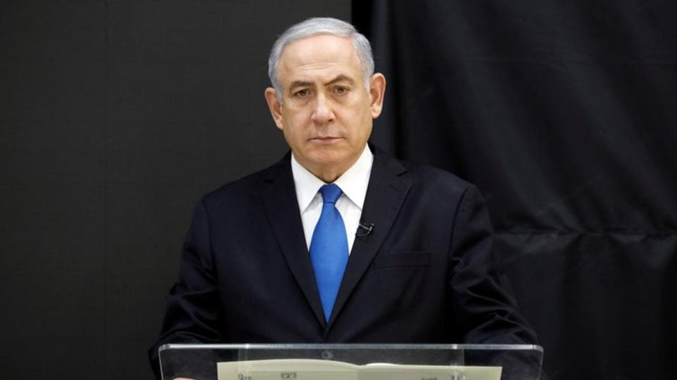 Israeli Prime minister Benjamin Netanyahu speaks during a news conference at the ministry of defence in Tel Aviv on April 30, 2018.
