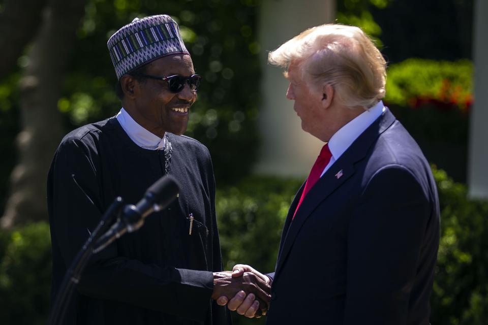 United States President Donald Trump with Nigerian President Muhammadu Buhari.