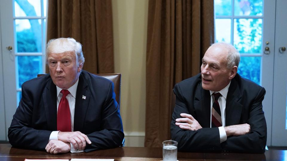 US President Donald Trump with Chief of Staff John Kelly