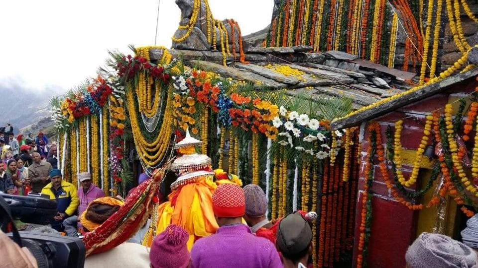 Tungnath temple decorated with flowers during the opening of portals in Rudraprayag district on Wednesday.