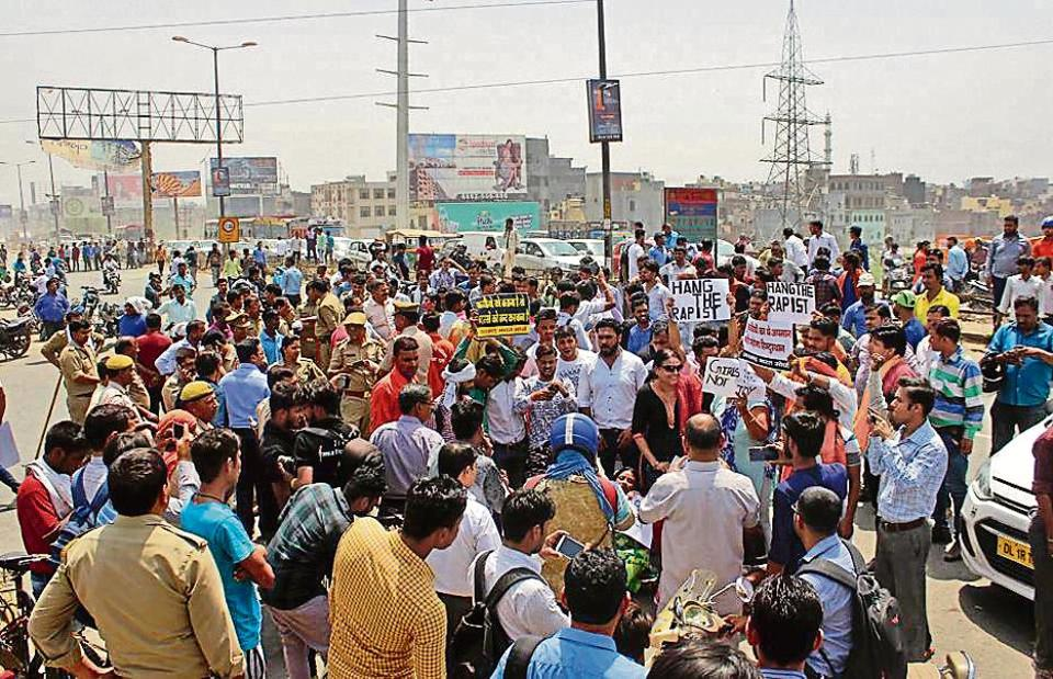 On April 24, residents and members of rightwing outfits staged a protest on NH-24 demanding action against those responsible for allegedly abducting and raping the girl inside the madrasa.