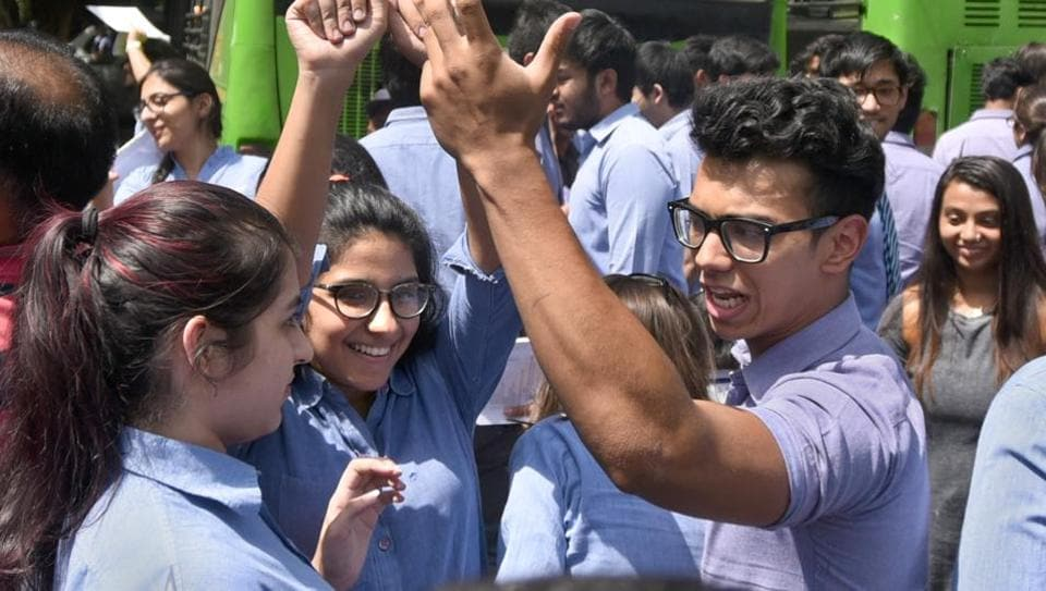CBSE students cheer after taking the class XII Economics retest at Meter Dei School, in New Delhi, on April 25, 2018. The exam, which was earlier cancelled by the CBSE after the question paper got leaked, was conducted across 4,000 centres in the country.
