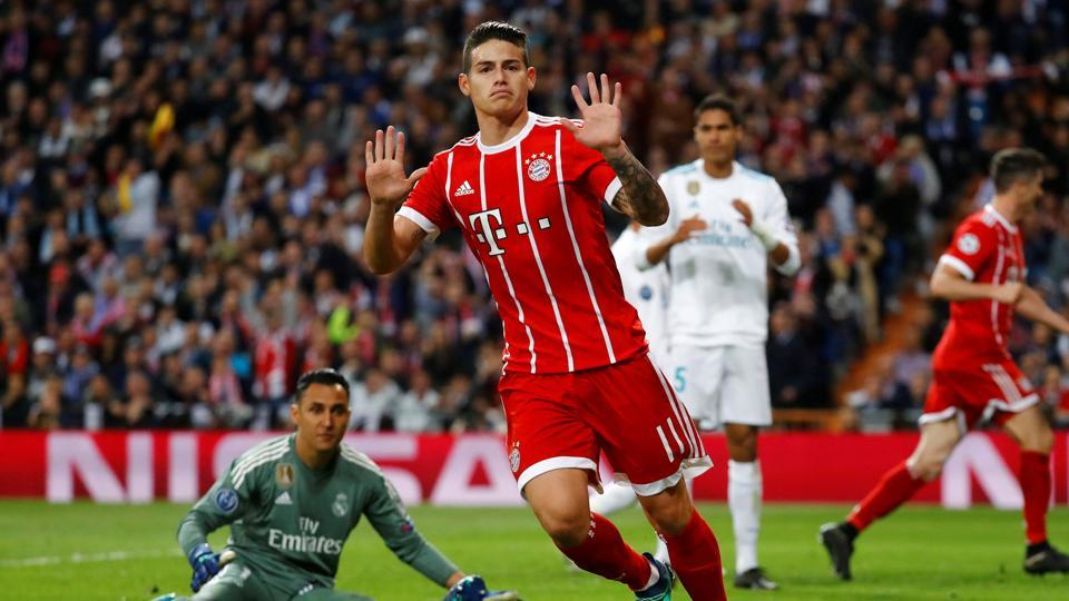 Former Real Madrid midfielder James Rodriguez though equalised to get Bayern Munich within a goal of reaching the final of the Champions League. (REUTERS)