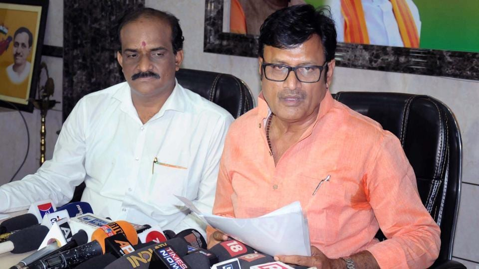 Parliamentary affairs minister Rajendra Singh Rathore speaks to media at party office in Jaipur on Wednesday.