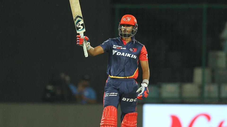 Shreyas Iyer of the Delhi Daredevils raises his bat after scoring half-century against Rajasthan Royals in an Indian Premier League (IPL) 2018 on Wednesday.