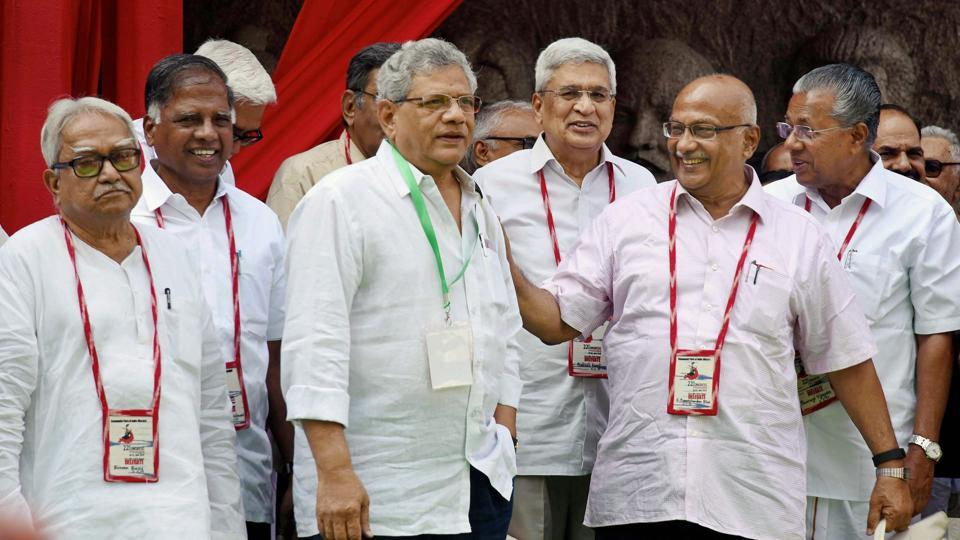 CPI(M) general secretary Sitaram Yechury (third from left) with party colleagues at the 22nd party congress, Hyderabad , April 18
