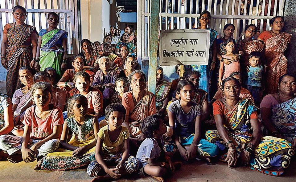 Three schools n Ramieshwar village, Devgad taluka, Sindhudurg, are expected to be demolished if the refinery comes up, and women and children are protesting for the right to education.