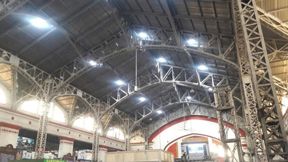 The natural tube  lights installed at Mumbai Central railway station.