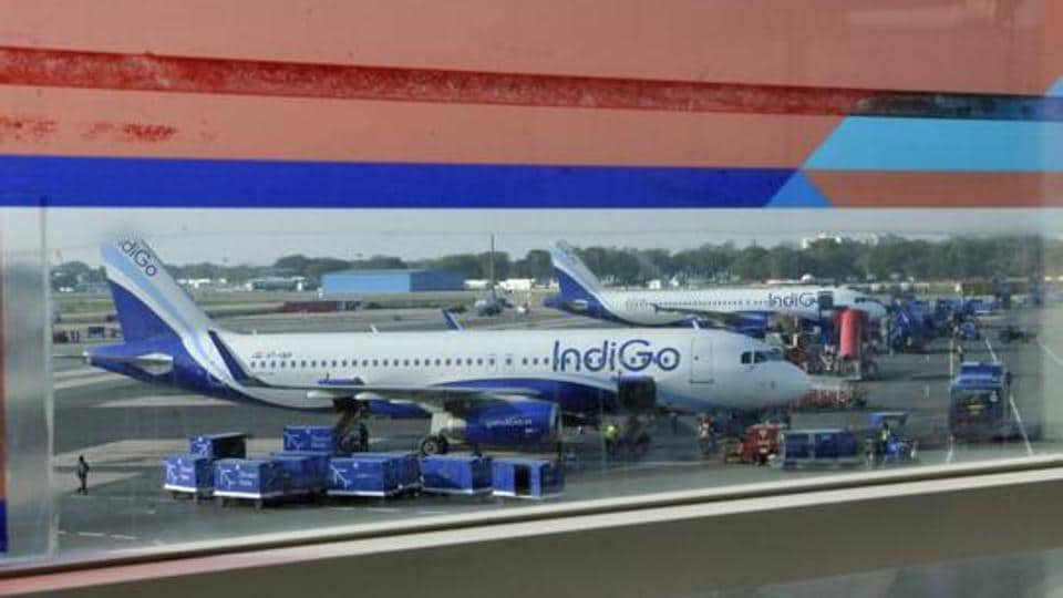 An IndiGo plane at T-1 Terminal in New Delhi.