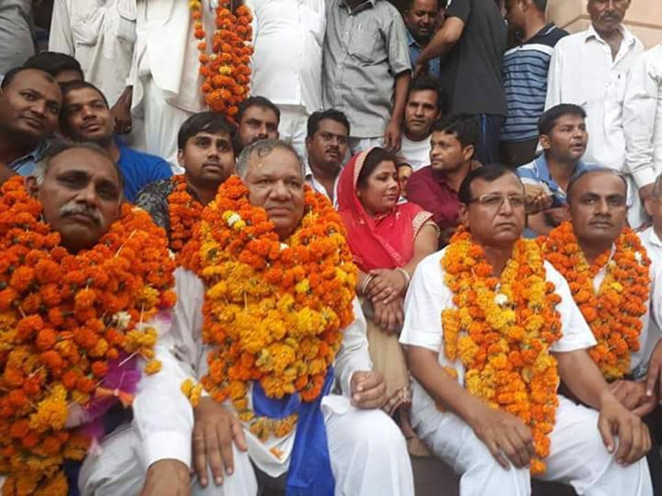 Dalit leaders being welcomed by community members in Barmer on Wednesday after they were released from jail on bail.