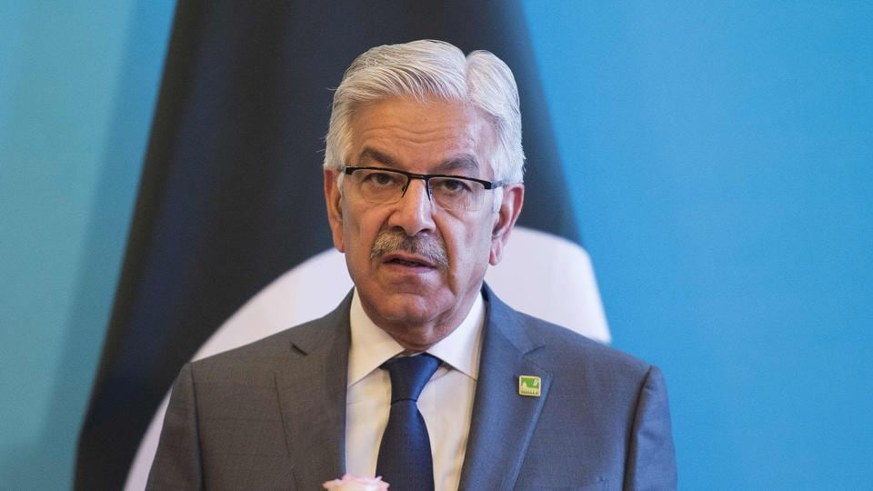 Khawaja Muhammad Asif speaks during a press conference.