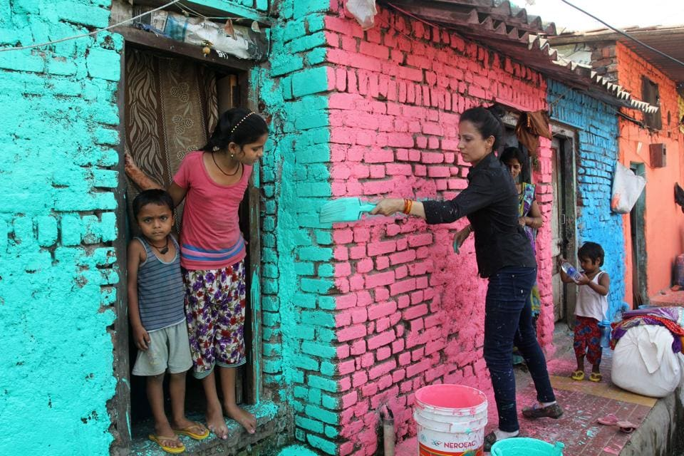 Strokes Of Paint Bring Sweeping Change In Thane Slum