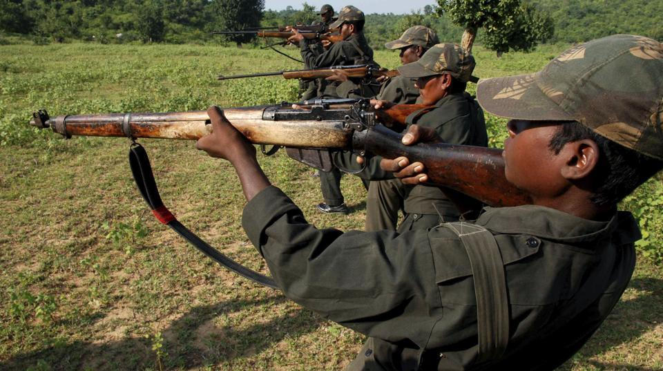 Maoists train in a forested area at Dumariya block in Gaya district recently.