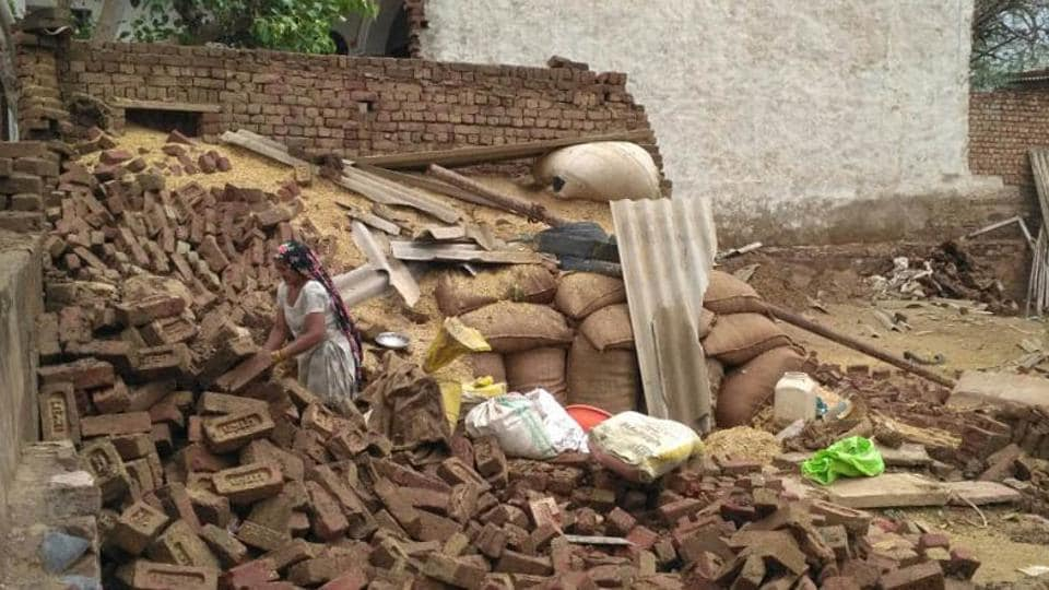 Houses destroyed in Wednesday's dust storm in Bharatpur.