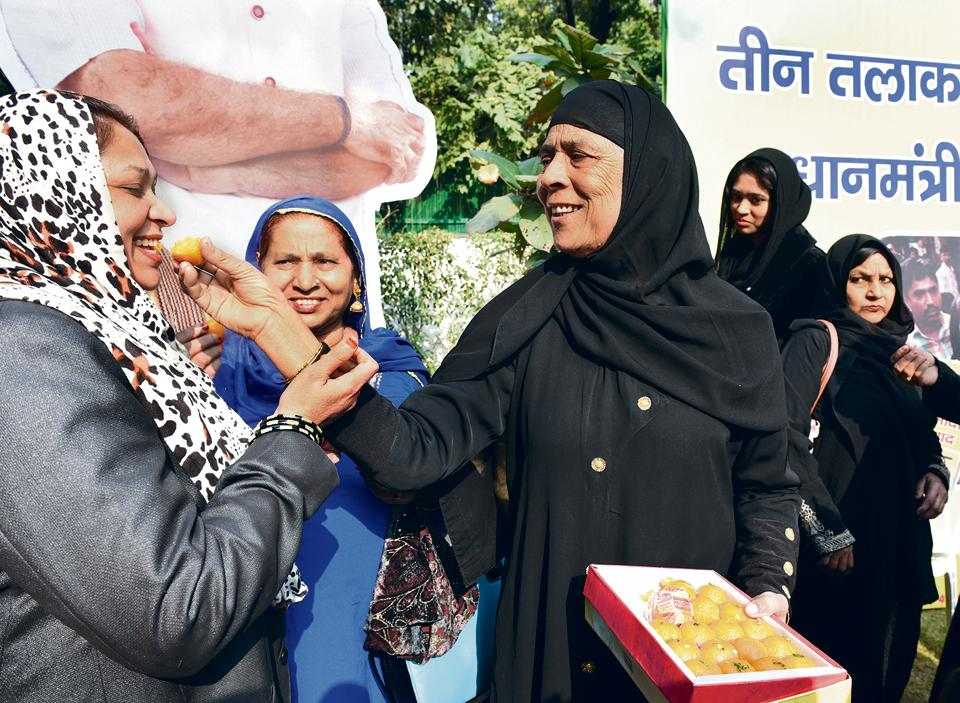 Celebrating the passing of the triple talaq bill by the Lok Sabha in New Delhi on December 31, 2017.