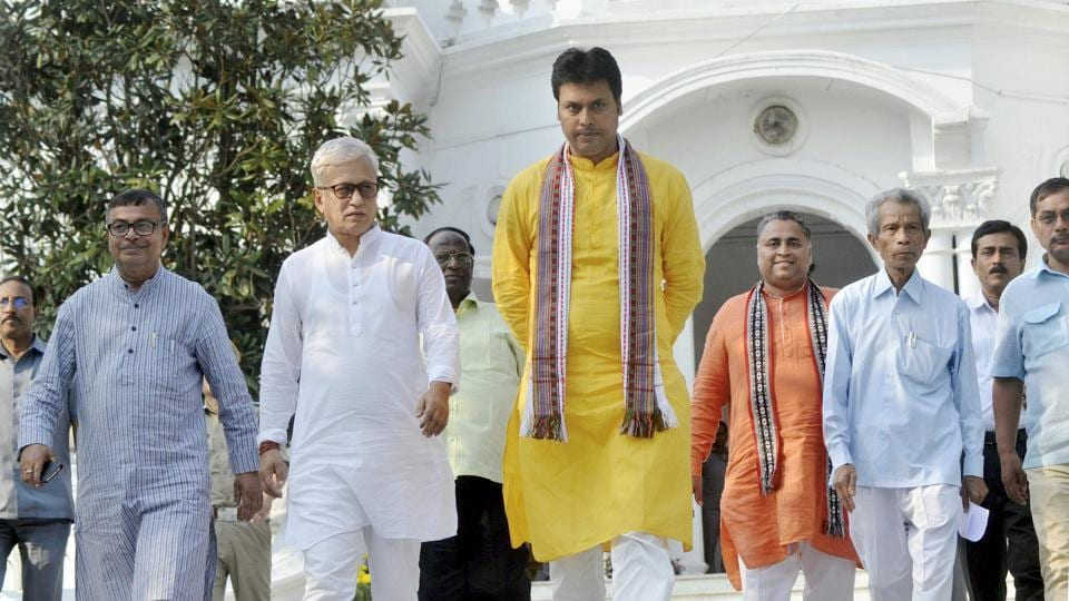 Tripura BJP President and Chief Minister Biplab Deb arrive to meet Tripura Governor.