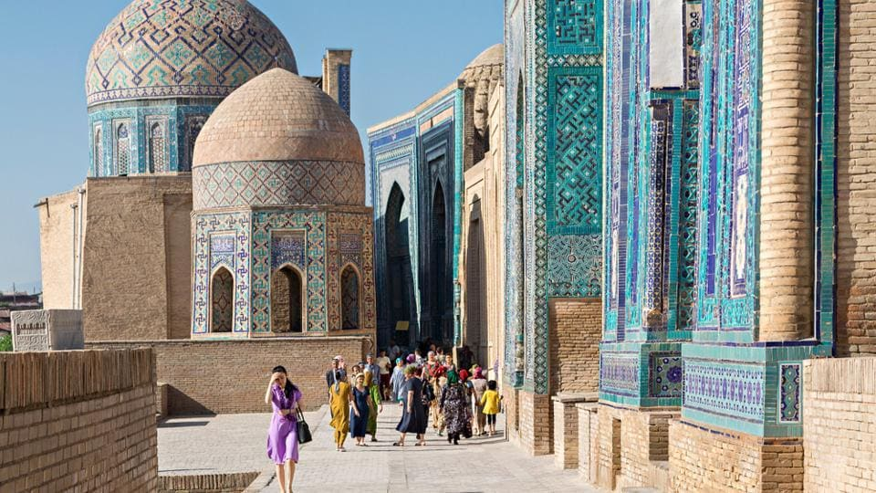 Uzbekistan and Kashmir seem to have a lot of similarities. (Above) People visit the historical cemetery of Shahi Zinda, in Samarkand, Uzbekistan.