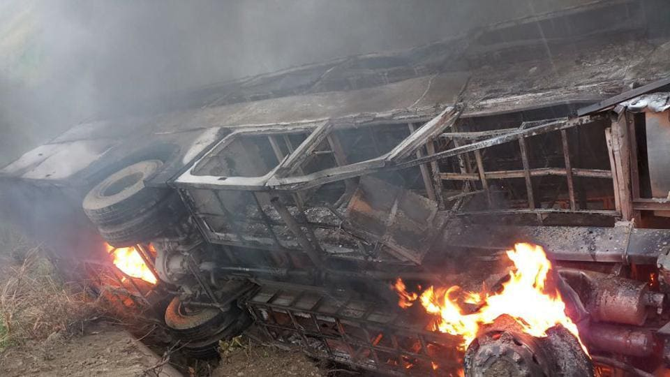 A bus caught fire after it overturned on the NH 28 near Chetwa village in Motihari district, Bihar on Thursday.