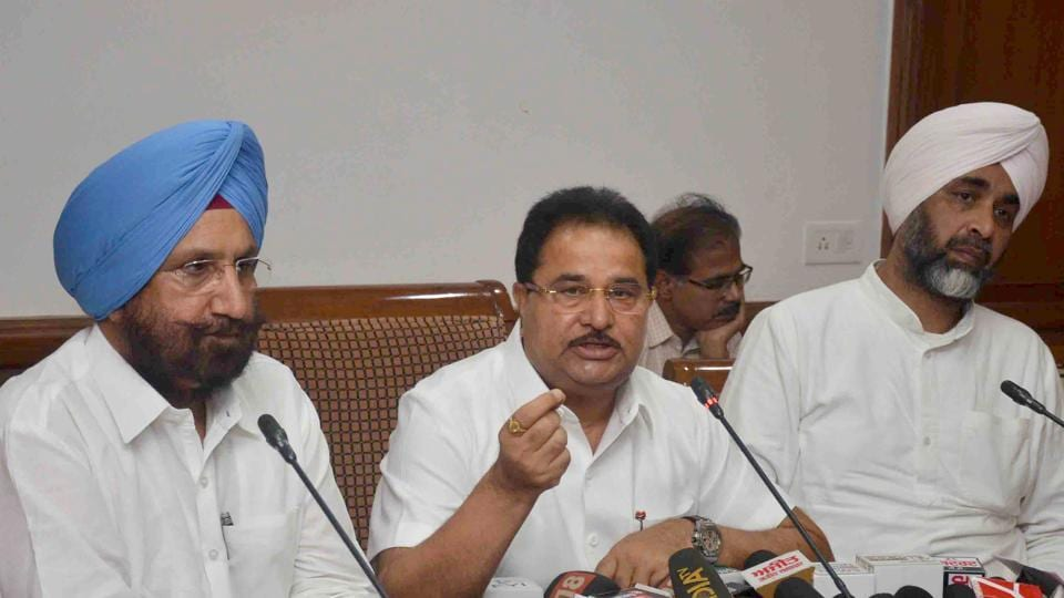 School education minister OP Soni speaks to the media in Chandigarh on Thursday.