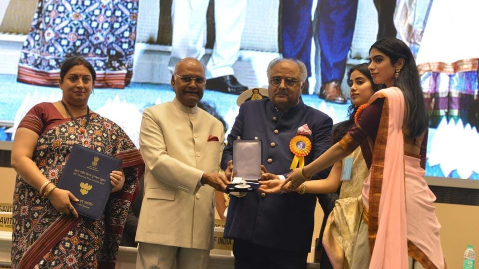 Filmmaker Boney Kapoor along with his daughters Janhvi and Khushi Kapoor, receives National Film Award from President Ram Nath Kovind on the behalf of his wife and late actress Sridevi, during 65th National Film Awards, in New Delhi.