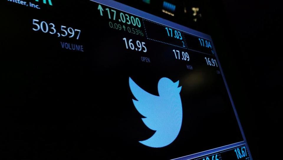 A screen displays the stock price of Twitter above the floor of the New York Stock Exchange (NYSE) in New York.