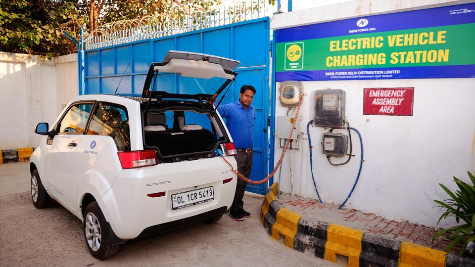 An electric vehicle charging station in New Delhi.