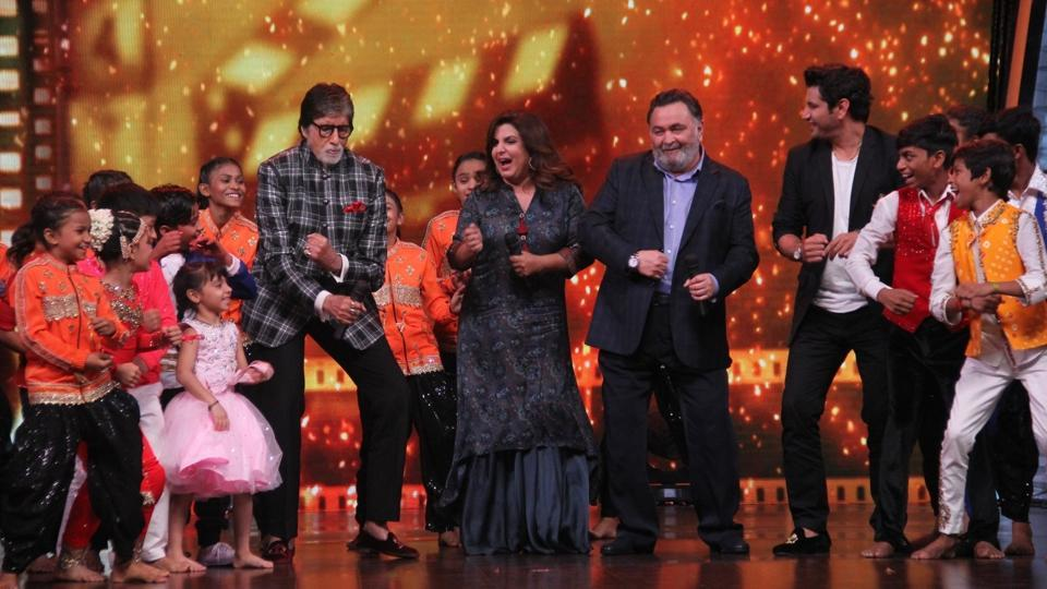 Filmmaker Farah Khan and actors Amitabh Bachchan and Rishi Kapoor on the sets of a dance reality show 'Dance India Dance - Little Masters', in Mumbai, Maharashtra on April 30, 2018. (IANS)