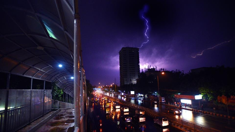 A bolt of lightning captured over the Delhi sky during a thunderstorm on May 02, 2018. (Raj K Raj / HT Photo)