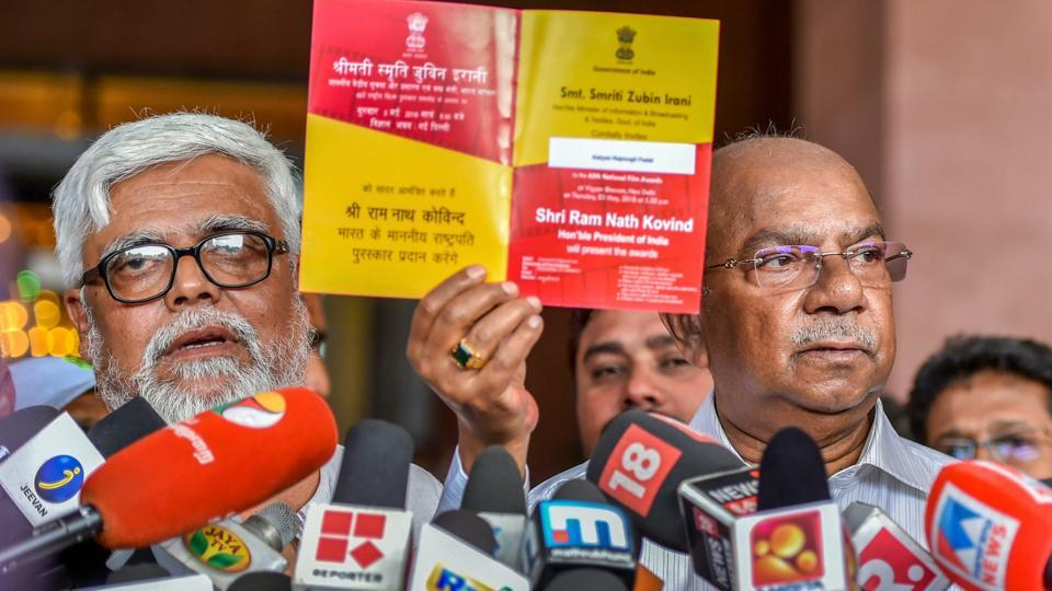 RC Suresh (right), winner for Best Documentary, Best Director, Best Music Director along with filmmaker Meghnath and other awardees after deciding to skip the 65th National Film Awards ceremony in New Delhi on Thursday.