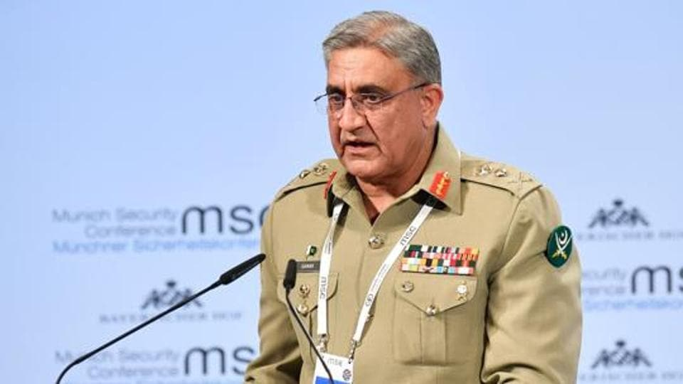 Pakistan's Chief of Army Staff Qamar Javed Bajwa gives his speech on day two of the 54th Munich Security Conference (MSC) in Munich.