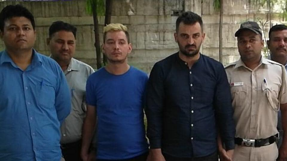 The two Romanian men who were arrested by Delhi police.