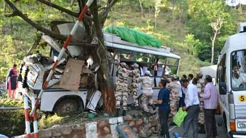 The bus hits a roadside tree after collision with a truck at Gauchar, Chamoli on Saturday.
