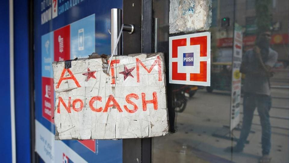 File photo of an ATM facility with a 'no cash' sign in Bengaluru on April 18.