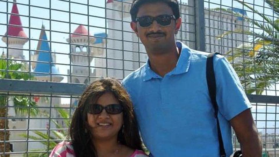Srinivas Kuchibhotla poses for photo with his wife Sunayana Dumala. .