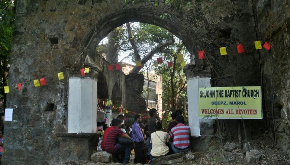 Members of the Christian community gathered together for religious services at the ancient Church of St John the Baptist situated at Seepz, MIDC Andheri (East).