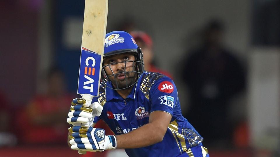 Rohit Sharma plays a shot during the 2018 Indian Premier League (IPL 2018) match between Kings XI Punjab and Mumbai Indians at the Holkar Cricket Stadium in Indore on May 4, 2018.